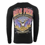 Men's Biker Long Sleeve Shirts: Ride Free, Respect Our Vets