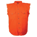 Orange Cutoff Denim Motorcycle Vest