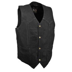 Black Denim Motorcycle Vests: Bike Club