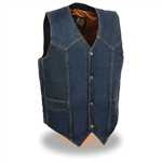 Gun Pocket Denim Motorcycle Vest: Milwaukee