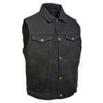 Men's Black Denim Motorcycle Vests: Biker Vests