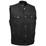 Men's Black Denim Motorcycle Vests: Gun Pocket Biker Vest
