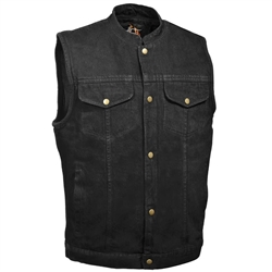 Milwaukee Black Denim Motorcycle Vests: Gun Pocket Biker Vest