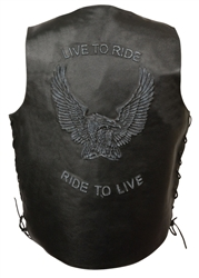 Live To Ride Leather Motorcycle Vest