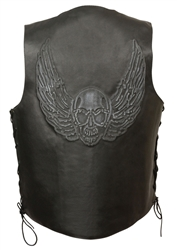Men's Skull Leather Motorcycle Vest