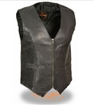 Cowhide Women's Leather Motorcycle Vests: Zip Up