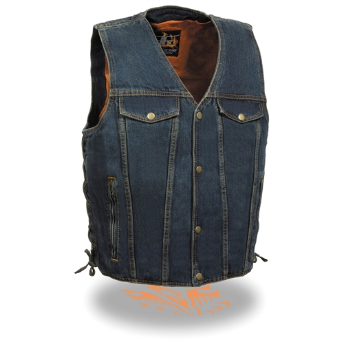 1360 Men's Denim Style Leather Vest with Side Lace mNLNEdVh