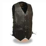 Mens 10 Pocket Leather Motorcycle Vests: Tall Sizes
