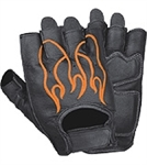 Fingerless Leather Motorcycle Gloves: Flames