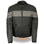 Men's Nylon Motorcycle Jacket - Gray Stripe