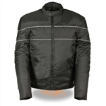 Leather Bound: Men's Nylon Motorcycle Jacket - Reflective Vented