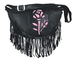 Women's Leather Fringe Pink Rose Hand Bag