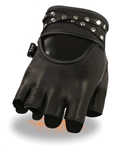 Fingerless Leather Motorcycle Gloves: Studded