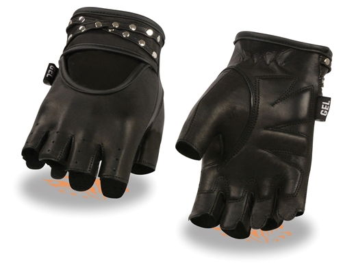 Studded Ladies Fingerless Leather Motorcycle Gloves