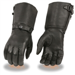 Women's Leather Motorcycle Gloves: Insulated Gauntlet