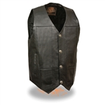 Men's Leather Motorcycle Vest: Buffalo Nickel Snaps