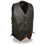 Men's Leather Motorcycle Vests: Buffalo Nickel Snaps