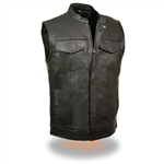 Men's Leather Motorcycle Vest - Zipper SOA Style