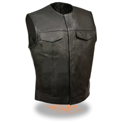 Collarless Leather Motorcycle Club Vest