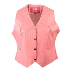 Women's Pink Leather Motorcycle Vest