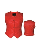 Red Women's Leather Motorcycle Vest