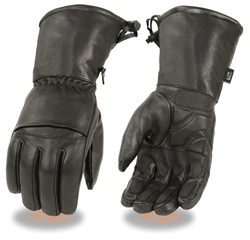 Men's Leather Gauntlet Waterproof Motorcycle Gloves