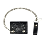 Eagle Embossed Leather Chain Wallet: American Made