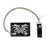 Biker Leather Chain Wallets - Tribal Skull Design