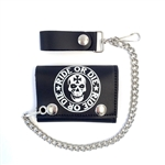 Biker Leather Chain Wallets: Skull Ride OR Die