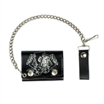 Lady Luck Leather Chain Wallet: American Made, Tri-Fold