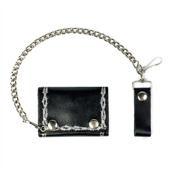 Barbed Wire Leather Chain Wallet: American Made