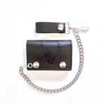Biker Leather Chain Wallets: Embossed Skull