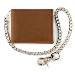 Billfold Brown Leather Chain Wallet Made in USA