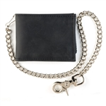 Billfold Black Leather Chain Wallet Made in USA