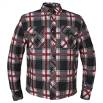 Flannel Armored Motorcycle Shirt, Plaid White, Red Black