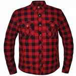 Flannel Armored Motorcycle Shirt, Plaid Black & Red