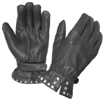 Women's Leather Motorcycle Gloves - Studded Detail