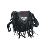 Leather Fringe Purple Rose Purse