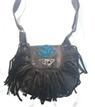 Leather Fringe Rose Purse: Teal Inlay