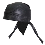 Plain Black Biker Soft Leather Head Wrap
