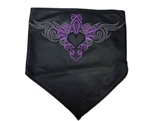 Women's Purple Leather Biker Bandanna: Pink Tribal