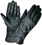 Women's Leather Motorcycle Glove - Studded Detail