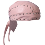Women's Pink Leather Biker Head Wrap - Studded