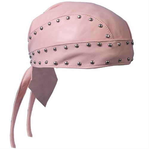 Studded Biker Pink Leather Head Wrap Ladies Motorcycle Gear