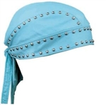 Women's Leather Biker Head Wrap - Studded