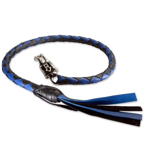 """Motorcycle Leather Get Back Whip 36/"""" and 42/"""" Black and Blue By Tennessee Leather"""