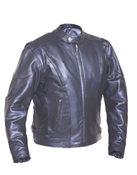 Men's Euro Vented Leather Motorcycle Jacket