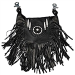 Biker Leather Hip Clip Pouch Bag: Fringe Beaded