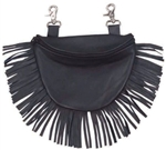 "Biker Leather ""Hip Purse"" - Black Fringe"