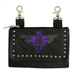 Ladies Biker Leather Hip Purse - Purple Tribal Design